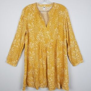 Old Navy Mustard Yellow Floral Dress Size Large